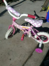 toddler's pink and white bicycle with training wheels Los Angeles, 91411