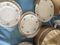 White-pink-and-green floral ceramic plates Ranson, 25438