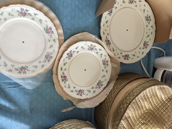 White-pink-and-green floral ceramic plates