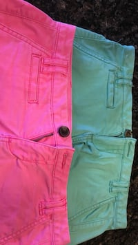 two pink and green denim shorts Tinley Park, 60487