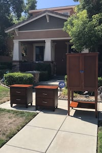 Liquor, sweater or TV cabinet and two nightstands. Made in the USA Eastvale, 92880