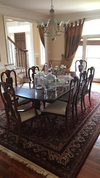 Rectangular brown wooden table with chairs dining set, including wooden china cabinet Dunn Loring, 22182