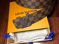 Damier Graphite Louis Vuitton leather belt with box 536 km