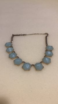teal gem stone silver chunky necklace New York, 10033