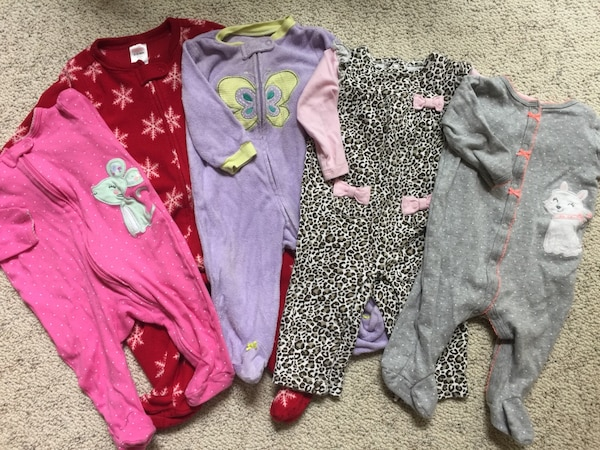 8d238c3cfa64 Used Baby Girl assorted footie pajamas for sale in Smyrna - letgo