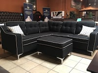 Black sectional sofa with ottoman Norwalk, 90650