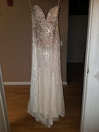 women's white and silver prom dress