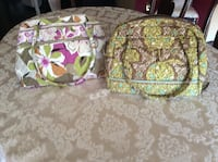 2 large bowler vera bradley two green and white floral vera bradley bags