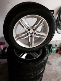 chrome 5-spoke car wheel with tire set Bradford West Gwillimbury, L3Z 2A4