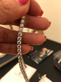 14k white gold plated tennis iced out necklace. New York, 11432