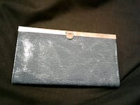 grey leather long wallet