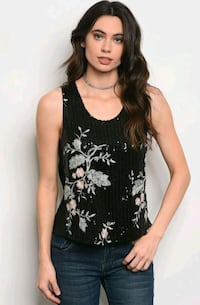 SLEEVELESS FLORAL SEQUINS TOP