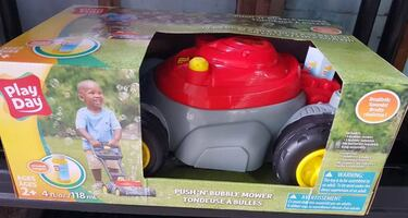 PLAY DAY PUSH N BUBBLE MOWER - VARIOUS COLORS