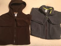 two gray and brown zip-up hoodies