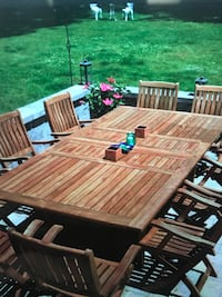 Teak outdoor dining table with 6 teal chairs 3722 km