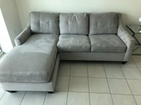 gray suede tufted sectional couch 931 mi