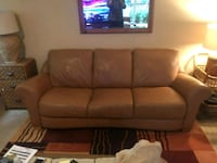 Camel brown leather 3-seat sofa and love seat. Federal Way, 98001