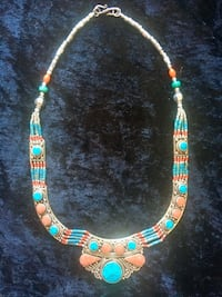 Handmade Turquoise, Coral & .925 Tibetan Silver Necklace Rancho Mirage, 92270
