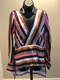 Strips V Collar Long Sleeve Blouse