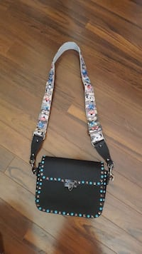 rectangular studded black and white with floral print sling bag 2865 km