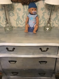 Bombe dresser chest Farmhouse distressed opal silver finish St Paul