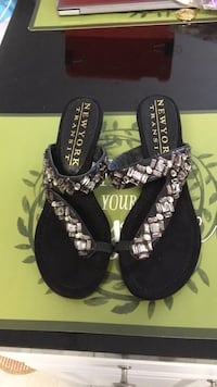 Gently used New York transit size 7 1/2 black jeweled sandals Laurel, 20723