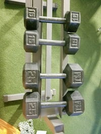 2 x 25lb and 2 X 10lb steel weihts and rack