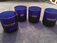 Vintage Set of 4 Harveys Bristol Cream Sherry Cobalt Blue Glasses Vienna