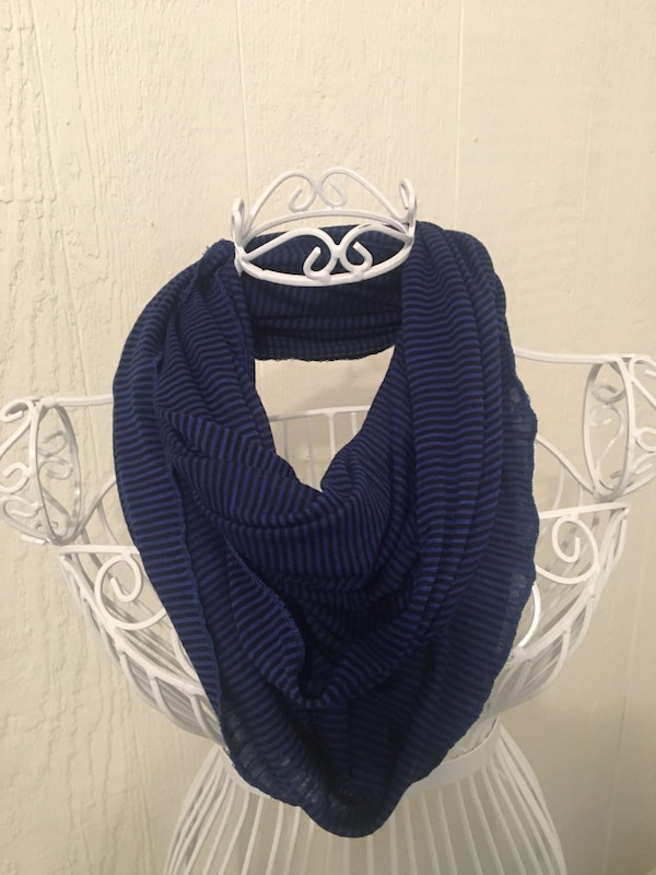 Blue and black striped scarf