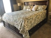 Solid Wood King Size Bed Frame/Headboard/Side Rails includes Drawers  Albuquerque