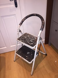 White and black metal folding chair Liverpool, L13 6RX