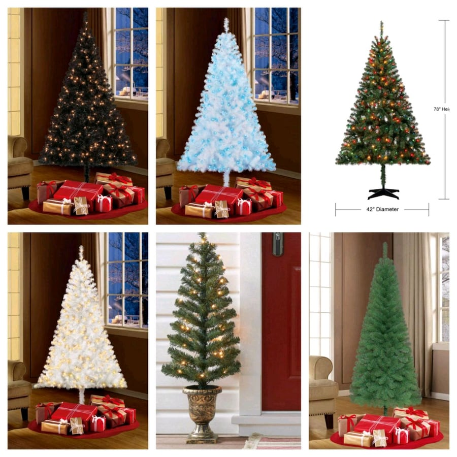 Used New Pre-lit Christmas Trees 4,6,7 ft White Green ...