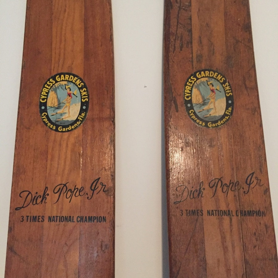 Vintage 1950's Cypress Gardens Dick Pope Jr. Water Skis  Excellent for Display or Man cave - Pelzer