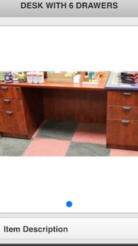 brown wooden pedestal desk with text overlay