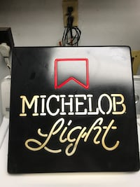 Black and white michelob light neon light signage