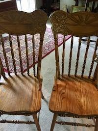 Selling as a pair two lovely antique oak chairs. Sturdy comfortable use at table dining or side chairs anywhere Harwich, 02645