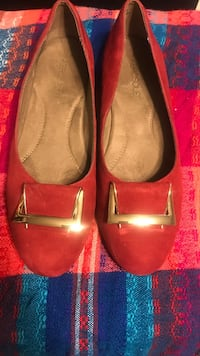 Aerosols Red Suede Flats w Front Gold Buckle 7 1/2 Worn Once Bogota, 07603