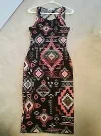 black and red tribal print sleeveless maxi dress