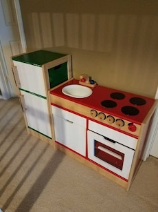 Wooden Kitchen play set sink, stove, oven and frid