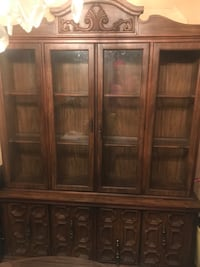 brown wooden framed glass display cabinet Jersey City, 07305