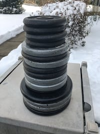 """92 Lbs of Barbell Weights 1"""" hole $45 for all Manassas, 20112"""