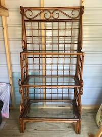 Wooden bamboo rack Glass shelves Excellent condition  34 inches wide  20 inches deep  69 inches tall  Boaz, 35957