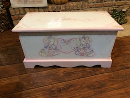 Hand painted wood chest / toy box