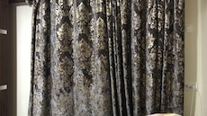 black and brown curtain
