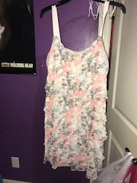 women's white and pink floral sleeveless dress