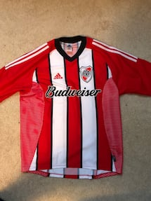 River Plate soccer jersey.