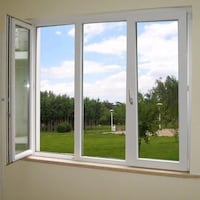 white wooden framed glass window null