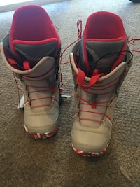 pair of gray-and-pink snowboard boots BALTIMORE