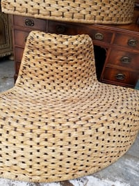 Woven wicker patio chairs
