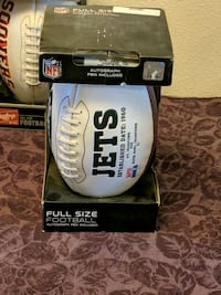 New York Jets full size football with autograph pen in box